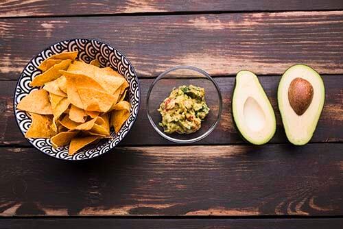 healthy diet of nachos and guacamole